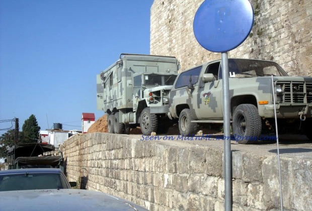 A Lebanese Army M1009 and an M109A1 Shop Van of the Sea Commandos (Maghaweer Al Ba7er) Regiment, St Gilles fortress, Tripoli, June 2011.