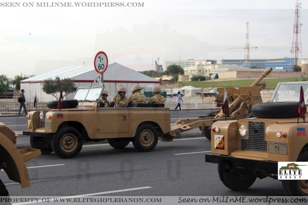 Qatar Armed Forces Land Rover Series II SWB towing a 25pdr gun