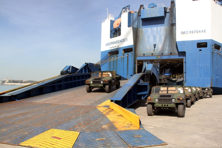 M998s and an M1025 HMMWV vehicles can be seen here delivered in Beirut Seaport.