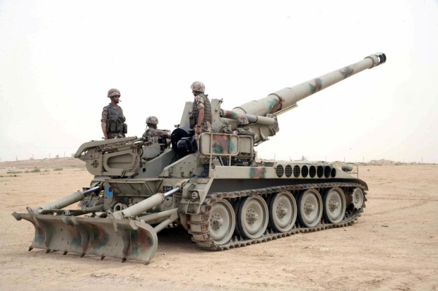 A Royal Jordanian Land Force M110A2 SPG during military exercise in January 2013.