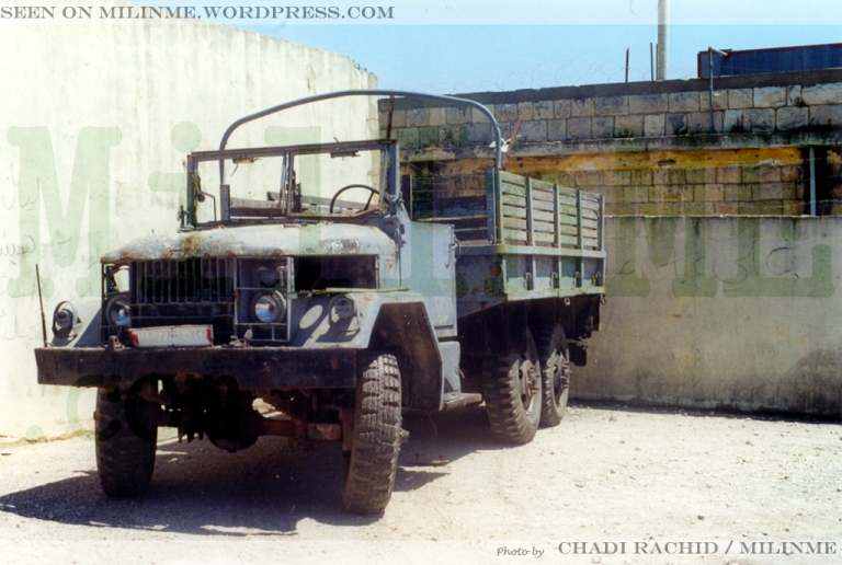 An ex SLA militia M35A2 displayed as trophy in Khiam barracks/detention center, 2001.