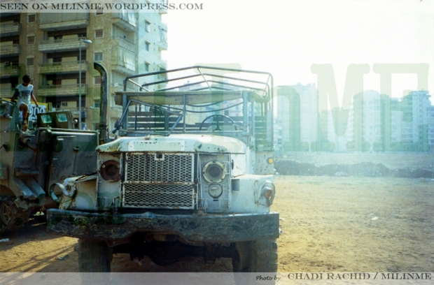 An ex SLA militia M35A2 parked as trophy in a yard, Southern Suburbs of Beirut, 2001.