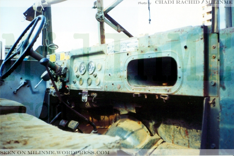 The dashboard of the same ex SLA militia M35A2, Southern Suburbs of Beirut, 2001.