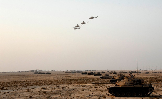 Royal Bahraini Army M60A3 MBTs and Royal Bahraini Air force Bell AH-1 attack helicopters.