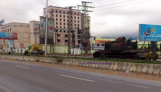The remains of a Syrian Army T-55 next to Carrefour Superstore, Aleppo, January 7, 2013.