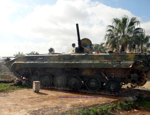 A knocked out Syrian Army BMP-1 at Zayzoun, Deraa, February 16, 2013.