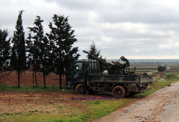 A Syrian Rebel Isuzu Light Truck technical  in Taftanaz, Edleb, January 9, 2013.