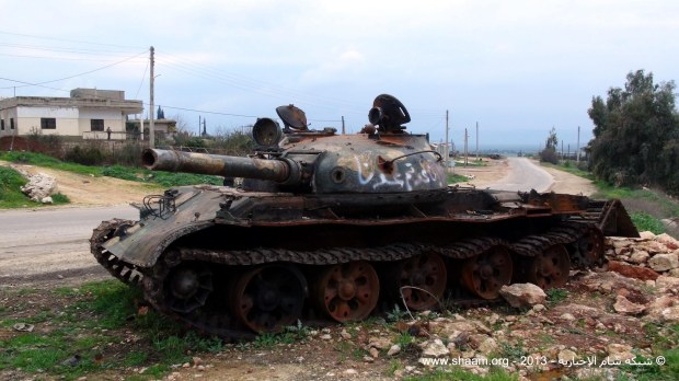 A destroyed Syrian Army T-62, Edleb, January 31, 2013.