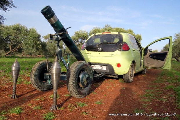 A Syrian Free Army locally modified mortar towed by a chinese made Geely LC2, Binish, Edleb, March 13, 2013.