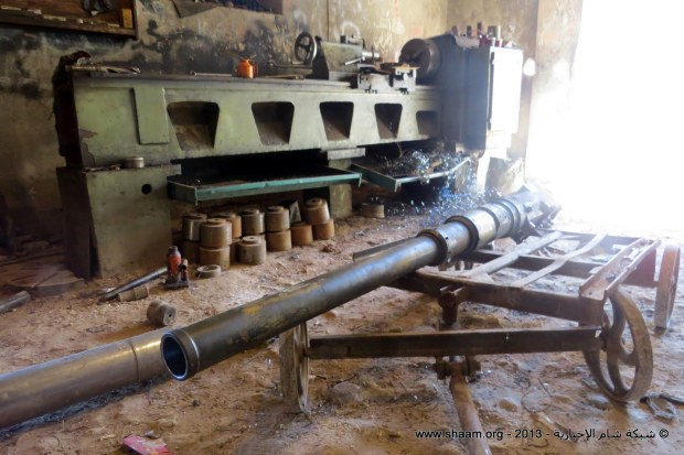 A Syrian Free Army workshop refurbishing and modifying mortars and guns, Binish, Edleb, March 20, 2013.