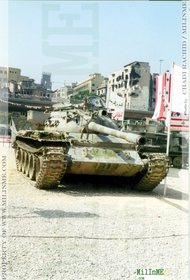 An ex SLA militia Tiran 55 parked as trophy in downtown Beirut, 2001.