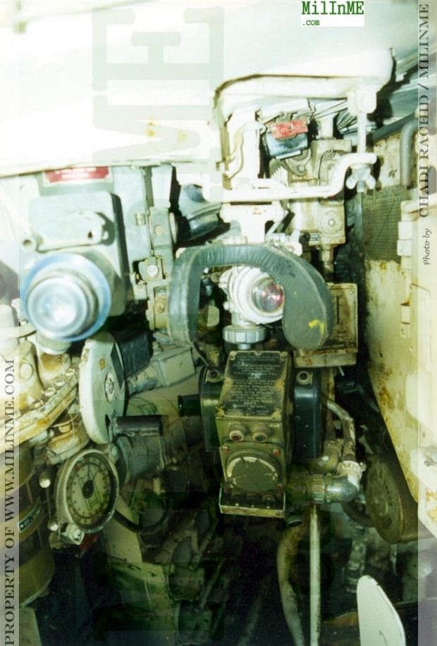 A interior close-up of an ex SLA militia Tiran 55 parked as trophy in downtown Beirut, 2001.