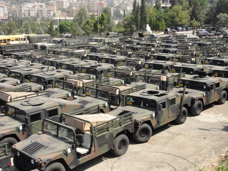 In the context of the United States aid program dedicated to the Lebanese Army, the Logistic Brigade received in the port of Beirut 71 vehicles composed of HMMWVs including M1038 Cargo/Troop Carrier, M1026 Armament Carrier w/ Basic Armor, M1044 Armament Carrier w/ Supplemental Armor as well as trucks including M925 5tons cargo trucks and M35A2 2.5tons cargo trucks.