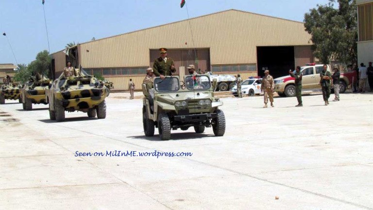 A Libyan Army Safir light utility vehicle leading BRDM-2s of Katiba 204, late April 2013.