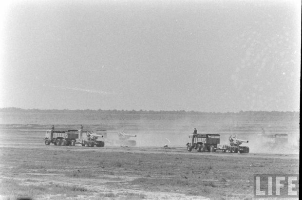 Royal Iraqi Army AEC Militant Artillery Tractors towing M115 8 inch howitzers, 1957.